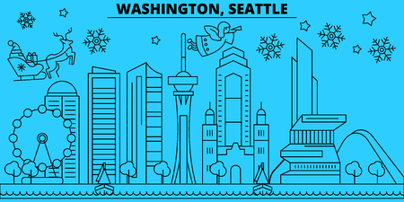 United States, Seattle winter holidays skyline. Merry Christmas, Happy New Year decorated banner with Santa Claus.Flat, outline vector.United States, Seattle linear christmas city illustration