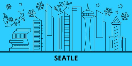 United States, Seattle city winter holidays skyline. Merry Christmas, Happy New Year decorated banner with Santa Claus.Outline vector.United States, Seattle city linear christmas city illustration Illustration