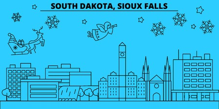 United States, Sioux Falls winter holidays skyline. Merry Christmas, Happy New Year decorated banner with Santa Claus.Outline vector.United States, Sioux Falls linear christmas city illustration