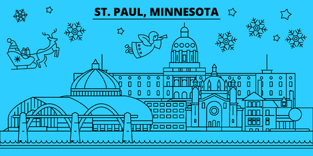 United States, St. Paul winter holidays skyline. Merry Christmas, Happy New Year decorated banner with Santa Claus.Flat, outline vector.United States, St. Paul linear christmas city illustration
