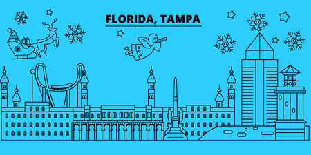 United States, Tampa winter holidays skyline. Merry Christmas, Happy New Year decorated banner with Santa Claus.Flat, outline vector.United States, Tampa linear christmas city illustration Ilustração