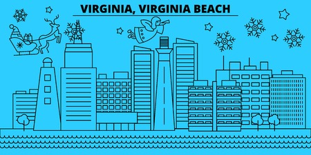United States, Virginia Beach winter holidays skyline. Merry Christmas, Happy New Year  with Santa Claus.Outline vector.United States, Virginia Beach linear christmas city illustration