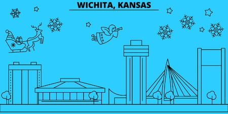 United States, Wichita winter holidays skyline. Merry Christmas, Happy New Year decorated banner with Santa Claus.Flat, outline vector.United States, Wichita linear christmas city illustration Illustration
