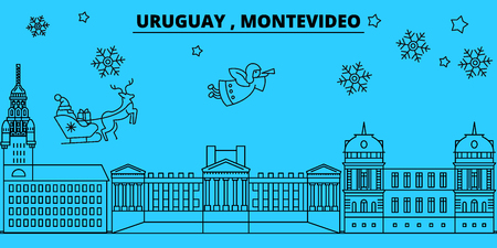 Uruguay, Montevideo winter holidays skyline. Merry Christmas, Happy New Year decorated banner with Santa Claus.Flat, outline vector.Uruguay, Montevideo linear christmas city illustration