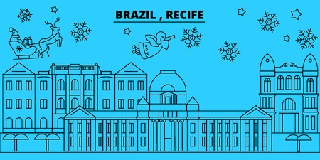 Brazil, Recife winter holidays skyline. Merry Christmas, Happy New Year decorated banner with Santa Claus.Flat, outline vector.Brazil, Recife linear christmas city illustration