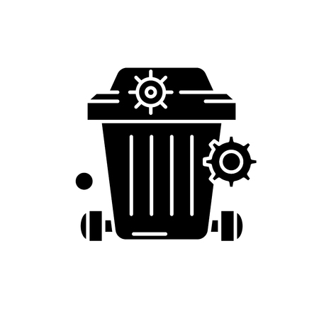 Dustbin black icon, vector sign on isolated background. Dustbin concept symbol, illustration Stock Illustratie