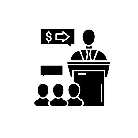 Presentation event black icon, concept vector sign on isolated background. Presentation event illustration, symbol