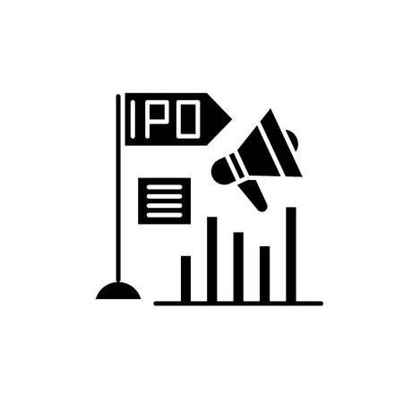 Initial public offering black icon, concept vector sign on isolated background. Initial public offering illustration, symbol