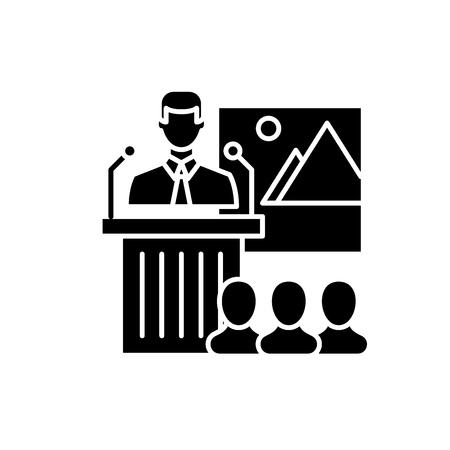 Business speaker black icon, concept vector sign on isolated background. Business speaker illustration, symbol