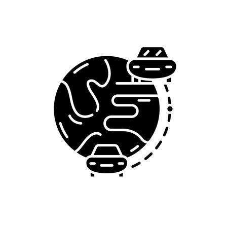 Auto travel black icon, concept vector sign on isolated background. Auto travel illustration, symbol Standard-Bild - 127290085