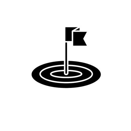 Goals black icon, concept vector sign on isolated background. Goals illustration, symbol