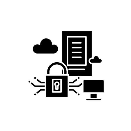 Securety server black icon, concept vector sign on isolated background. Securety server illustration, symbol Vector Illustration