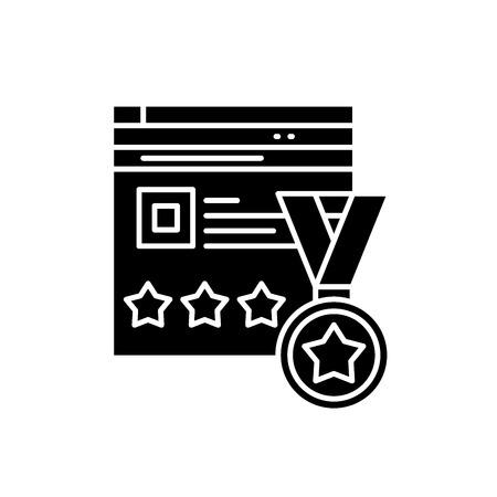 Webiste rating black icon, concept vector sign on isolated background. Webiste rating illustration, symbol