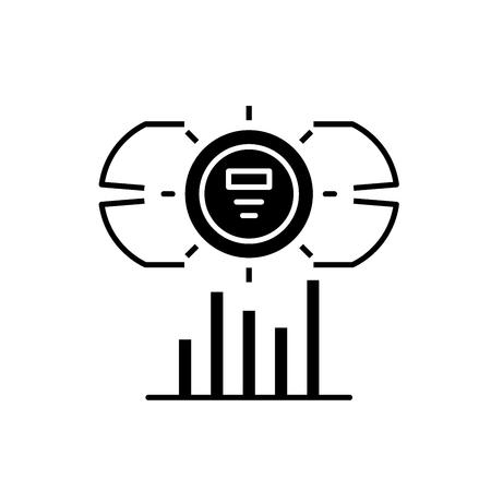 Dashboard metrics black icon, concept vector sign on isolated background. Dashboard metrics illustration, symbol
