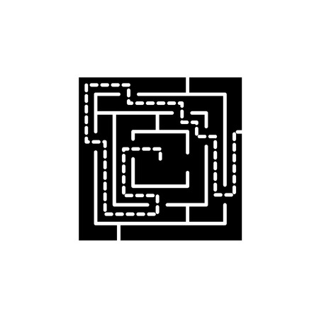 Labyrinth solution black icon, concept vector sign on isolated background. Labyrinth solution illustration, symbol 向量圖像