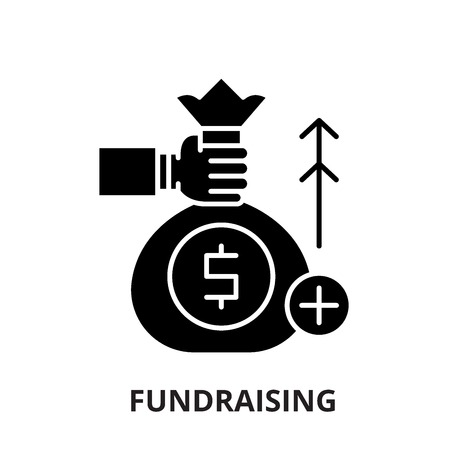 Fundraising black icon, concept vector sign on isolated background. Fundraising illustration, symbol Vettoriali