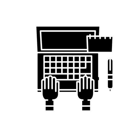 Programmer on laptop black icon, concept vector sign on isolated background. Programmer on laptop illustration, symbol