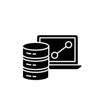 Big data framework black icon, concept vector sign on isolated background. Big data framework illustration, symbol Illustration