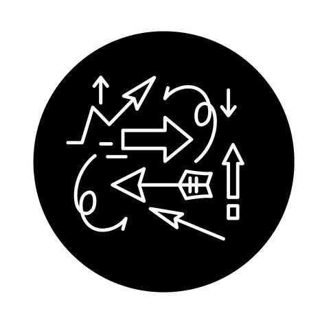 Teoria del caos icona nera, segno del vettore di concetto su sfondo isolato. Illustrazione, simbolo della teoria del caos