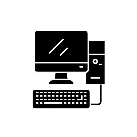Desktop pc computer black icon, concept vector sign on isolated background. Desktop pc computer illustration, symbol
