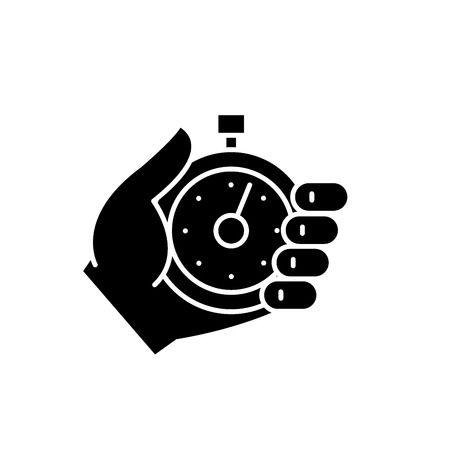 Business controlling black icon, concept vector sign on isolated background. Business controlling illustration, symbol