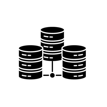 Data center black icon, concept vector sign on isolated background. Data center illustration, symbol