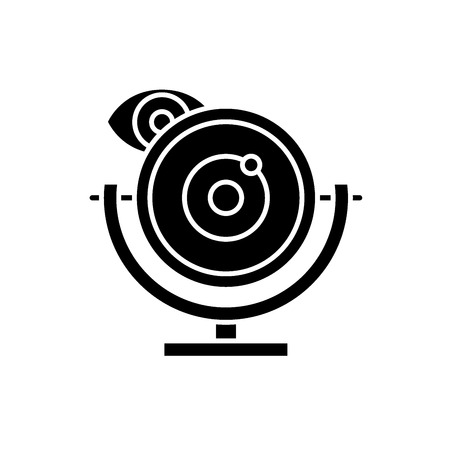 Web camera black icon, concept vector sign on isolated background. Web camera illustration, symbol Illustration