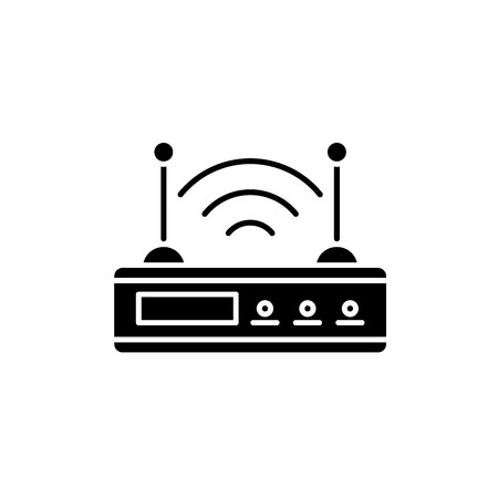 Wifi router black icon, concept vector sign on isolated background. Wifi router illustration, symbol Archivio Fotografico - 113440872