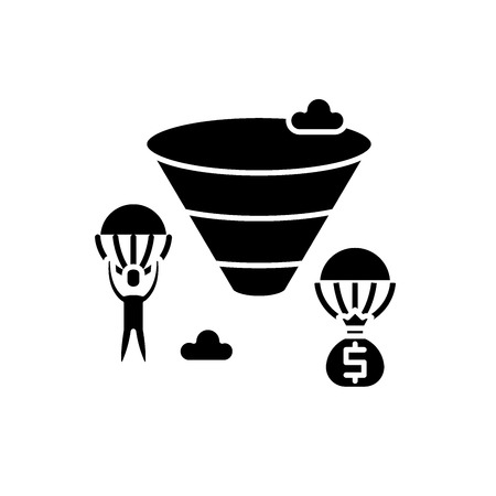 Sales funnel black icon, concept vector sign on isolated background. Sales funnel illustration, symbol