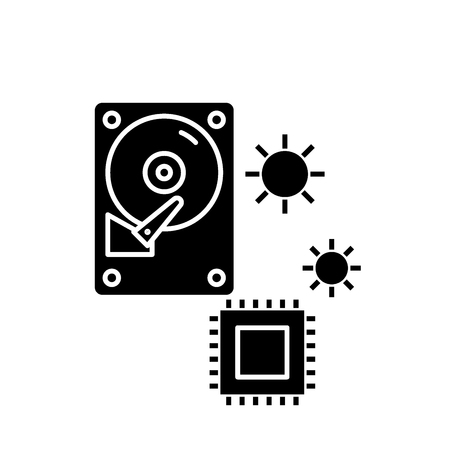 Hardware solutions black icon, concept vector sign on isolated background. Hardware solutions illustration, symbol Illustration