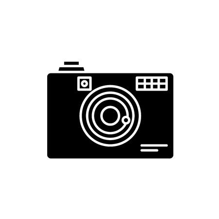 Icono negro de la cámara digital, concepto de vector de señal sobre fondo aislado. Ilustración de cámara digital, símbolo Ilustración de vector