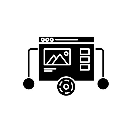 Website prototyping black icon, concept vector sign on isolated background. Website prototyping illustration, symbol Illustration