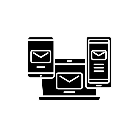 E-mail management black icon, concept vector sign on isolated background. E-mail management illustration, symbol
