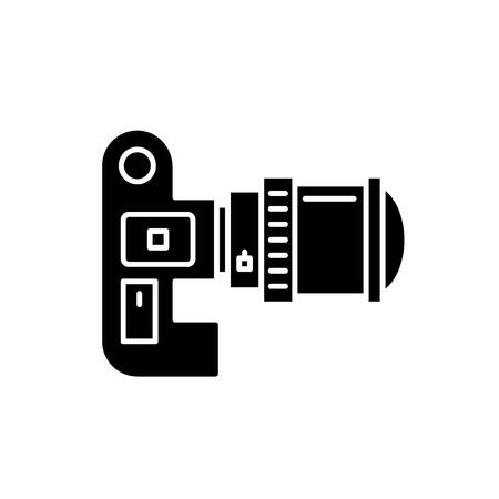Video camera black icon, concept vector sign on isolated background. Video camera illustration, symbol Illustration