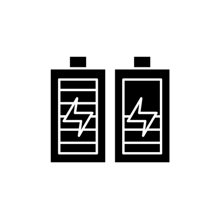 Battery charging black icon, concept vector sign on isolated background. Battery charging illustration, symbol  イラスト・ベクター素材
