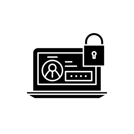 Secure data black icon, concept vector sign on isolated background. Secure data illustration, symbol
