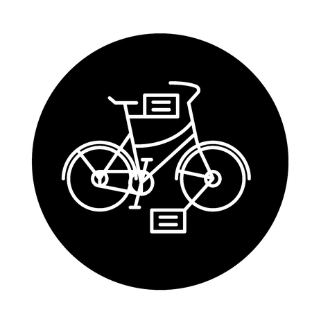 City bicycle black icon, concept vector sign on isolated background. City bicycle illustration, symbol