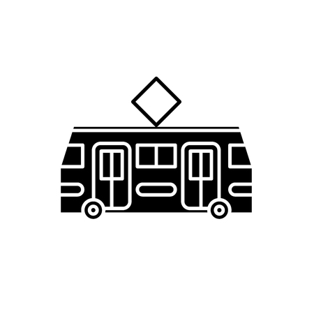 Tramway black icon, concept vector sign on isolated background. Tramway illustration, symbol Illustration