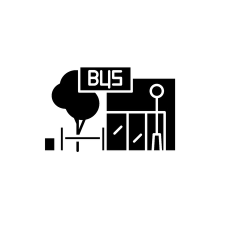 Bus stop black icon, concept vector sign on isolated background. Bus stop illustration, symbol