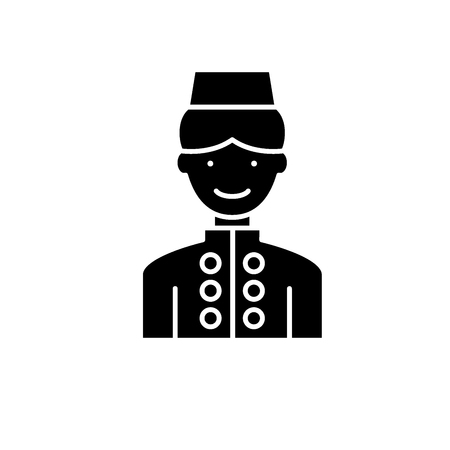 Hotel staff black icon, concept vector sign on isolated background. Hotel staff illustration, symbol Vectores