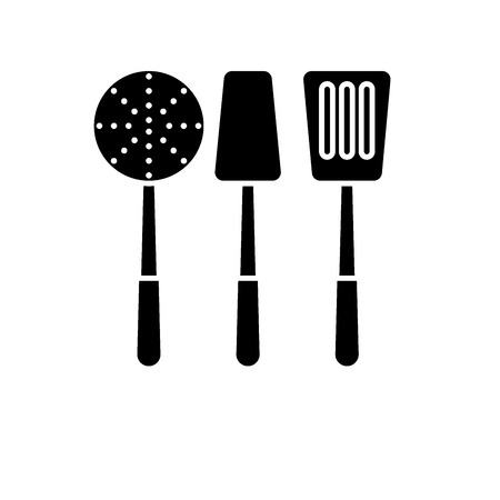 Cooking tableware black icon, concept vector sign on isolated background. Cooking tableware illustration, symbol