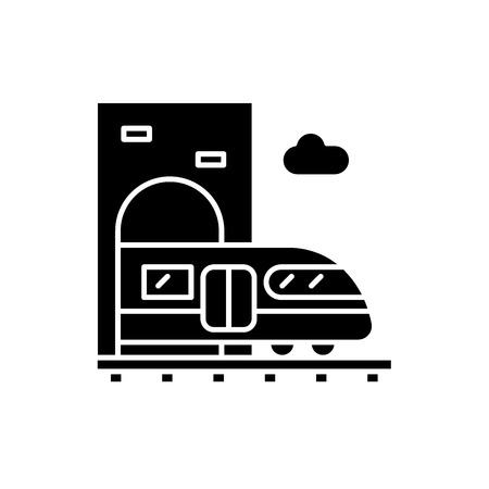 Train station black icon, concept vector sign on isolated background. Train station illustration, symbol