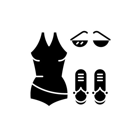 Bathing suit black icon, concept vector sign on isolated background. Bathing suit illustration, symbol Foto de archivo - 113443650