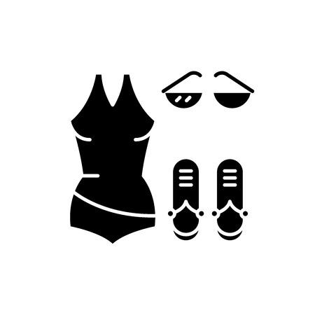 Bathing suit black icon, concept vector sign on isolated background. Bathing suit illustration, symbol Ilustrace