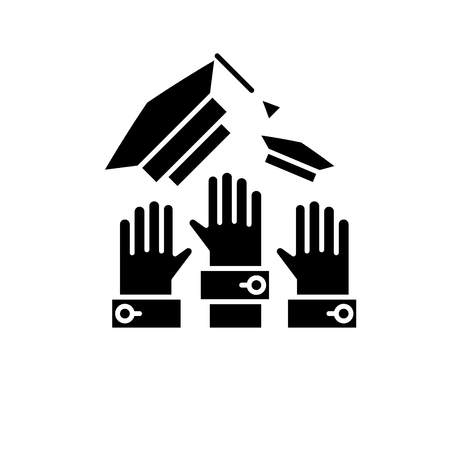Graduation ceremony black icon, concept vector sign on isolated background. Graduation ceremony illustration, symbol