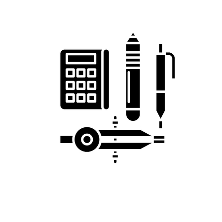Research method black icon, concept vector sign on isolated background. Research method illustration, symbol
