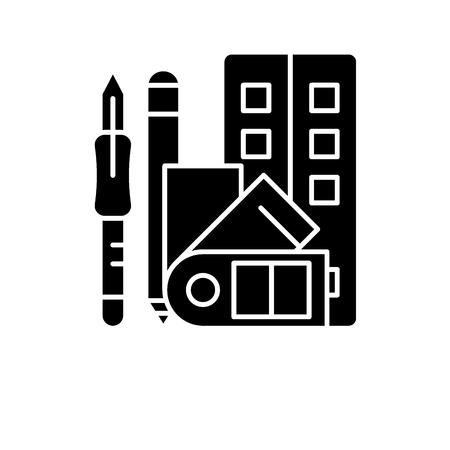 Art skills black icon, concept vector sign on isolated background. Art skills illustration, symbol