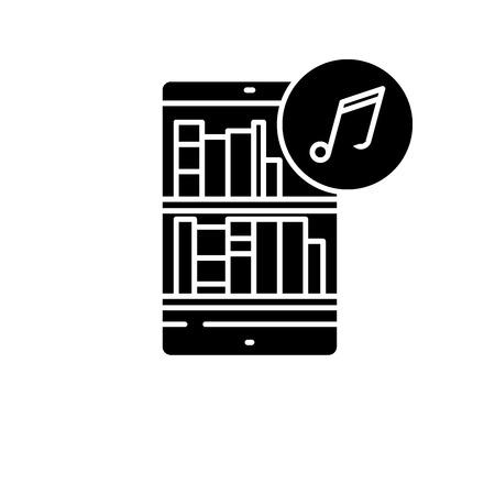 Audio books black icon, concept vector sign on isolated background. Audio books illustration, symbol