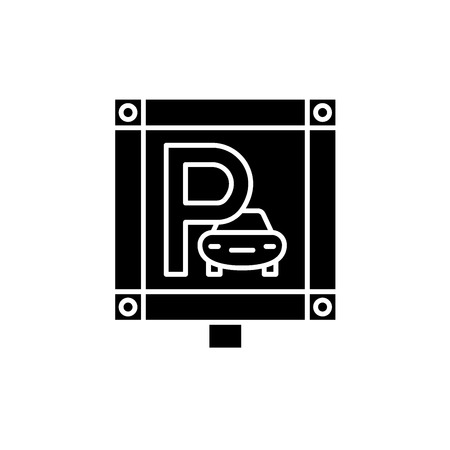 Parking place black icon, concept vector sign on isolated background. Parking place illustration, symbol 向量圖像