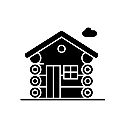 Dwelling black icon, concept vector sign on isolated background. Dwelling illustration, symbol